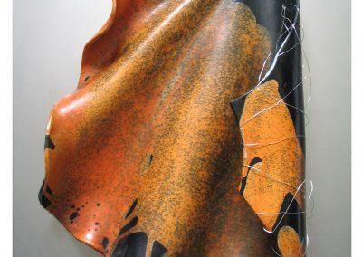 SCIOGLIERE-LE-VELE,-2007,-terra-sigillata-su-lastra-d'acciaio,-cm80x80